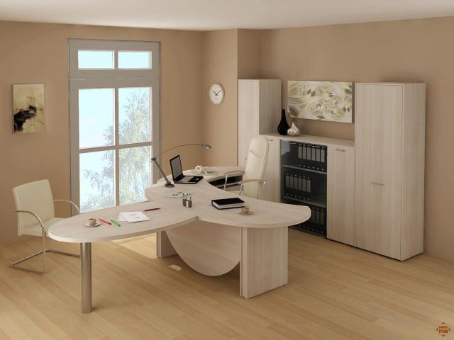 Комплект офисной мебели дуб молочный